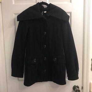 H&M black wool pea coat long collar